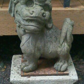 Vintage cement Foo dog statue