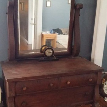Large antique dresser with mirror  - Furniture