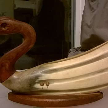 Blind Carved Horn & Wood Duck, Antique/Brocante Market Find $3.00