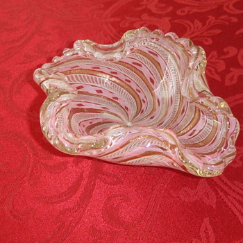 Italian Latticino Glass ashtray