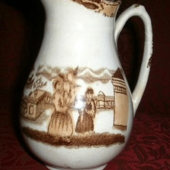 Antique brown and white transferwear creamer 6""