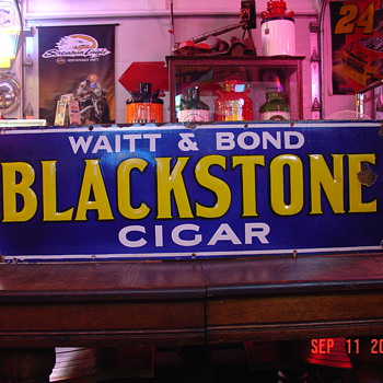 "Embossed Early 1900's Waitt & Bond ""Blackstone Cigar"" Porcelain Sign...Four Colors"