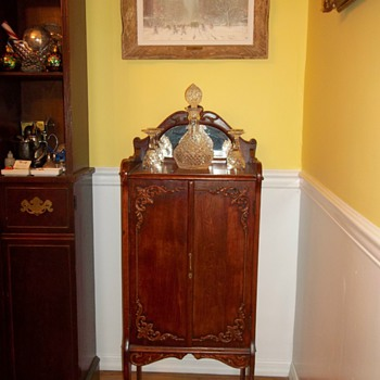 Antique Wood Record Cabinet - Furniture