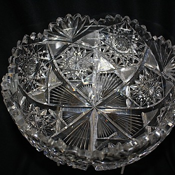 "American Brilliant Cut Glass 9 "" Bowl Signed Libbey  1901-1906"