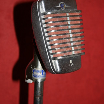 Shure microphone on stand