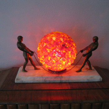 Art Deco bronze male Czechoslovakian glass globe lamp Ruckl