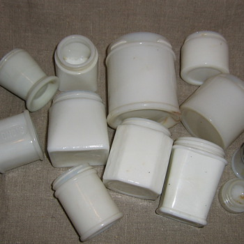 White milk glass cold creme & other beauty potion jars - Glassware