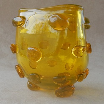 Blenko Lemon Yellow Triangular Applied Blob Vase by Wayne Huston