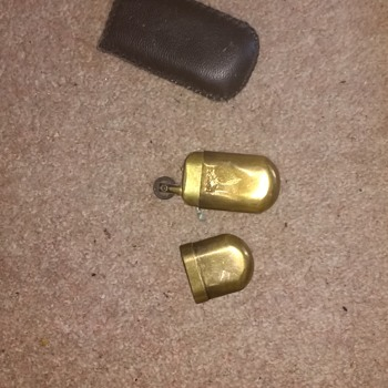GC Brass No 5 lighter with its original softcase believed of WWI Vintage but not sure.