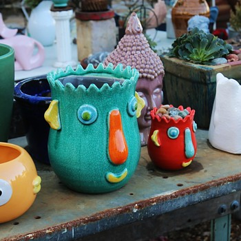 Some of my funky pots at the nursery. - Art Pottery