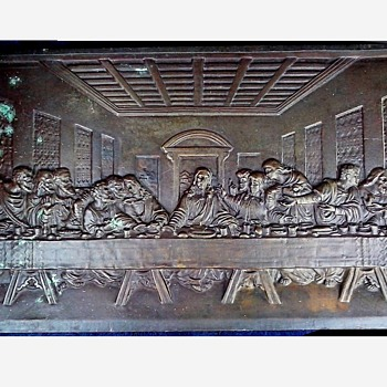 "Large Heavy Bronze Plaque/Leonardo DaVinci's ""Last Supper"" 24"" x 14""/ Circa 20th Century - Visual Art"