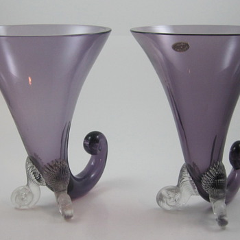 Czechoslovakian Horn Shaped glass vases, ca. 1930s - Art Glass