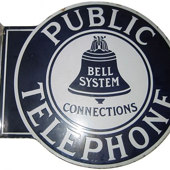 Bell System Large Round Connections Flange Sign