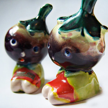 Vintage Anthropomorphic Salt and Pepper Shakers Adorable Eggplant Head Children