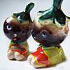 Vintage Anthropomorphic Salt and Pepper Shakers Adorable Eggplant Head Children