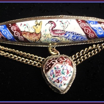 Vintage Silver handpainted Enameled on Porcealin Persian brooch and Semi-Parure - Fine Jewelry