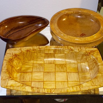 Rare 1960's Weavewood African Avodire Platter & Silk Oak Bowl Signed Walsh - Kitchen