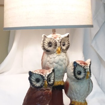 Big Ceramic 3 Owl Lamp