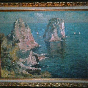 """ The Amalfi Coast "" By Silvani / Oil On Panel 16"" x 20"" Framed /Circa 20th Century - Fine Art"
