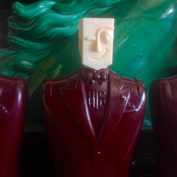 "Art Deco ""HIS"" bottles flat sided heads"