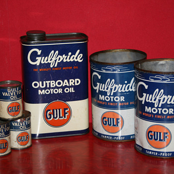 Gulf oil can collection - Petroliana