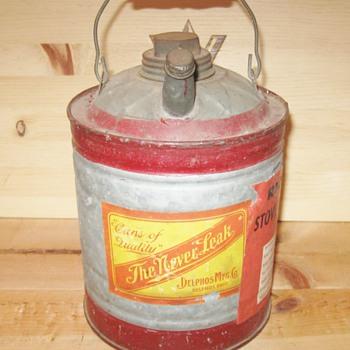 Vintage Red Stripe Delphos Mfg. Co. The Never Leak Gas Can w Richfield Sticker - Petroliana
