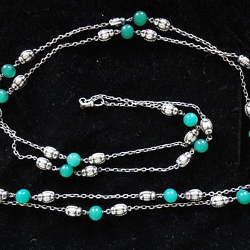 Skonvirke silver guard chain with chrysoprase, Scandinavian c. 1890 - Fine Jewelry