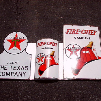 Matching Texaco Porcelain Signs - Petroliana