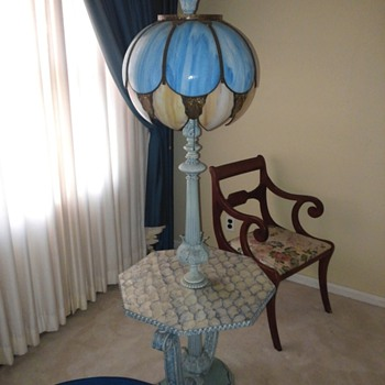 Unusual Floor Lamp with Slag Glass Shade.
