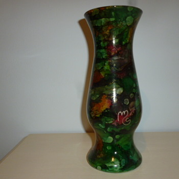 painted glass vase - Art Glass