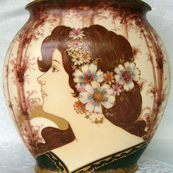 Amphora (or similar Teplitz Pottery) Maiden Vase - Art Pottery