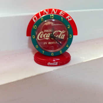 minature coca cola clock with DINNER around the dial  - Coca-Cola