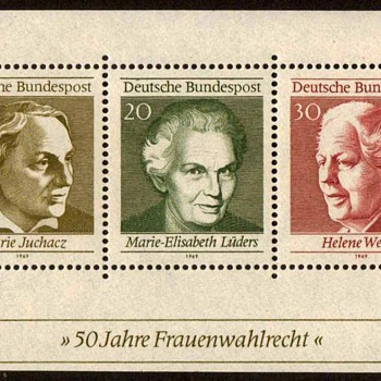 "1969 - W. Germany - ""Women's Suffrage"" Souvenir Sheet"