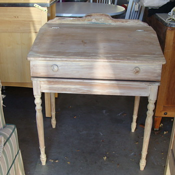 childs slant top desk with scroll inserted