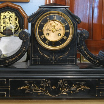 Large French Slate Tambour Mantel Clock - Clocks