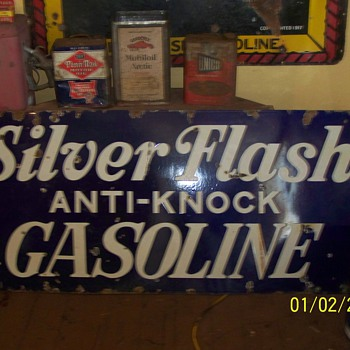 silver flash gasoline sign - Petroliana