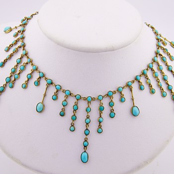 Antique Victorian Persian Turquoise 9ct or 8ct Gold Festoon Necklace  - Fine Jewelry