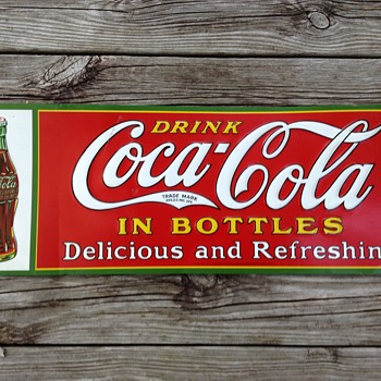 1931 coca cola drink in bottles tin sign in excellent + condition