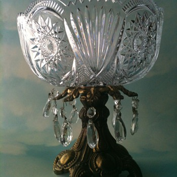 Georgeous Cut Glass Bowl on Metal Stand with Prism Star and Fan Pattern