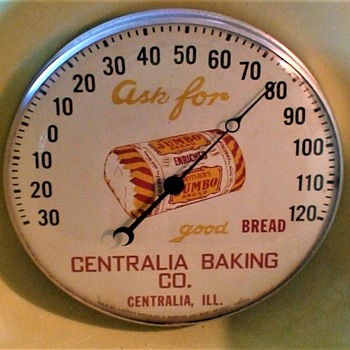 """Mother's Jumbo Bread"" Advertising Thermometer 1950s Centralia Baking Company"