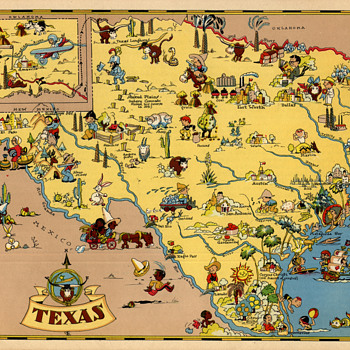 Ruth Taylor Texas State map 1935 comic cartograph