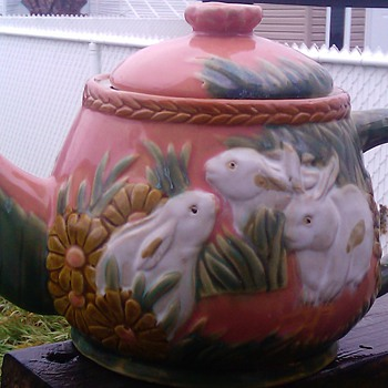 rabbits majolica teapot