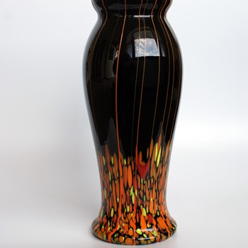 Black with Orange Spots and Stripes Kralik Vase - Art Glass