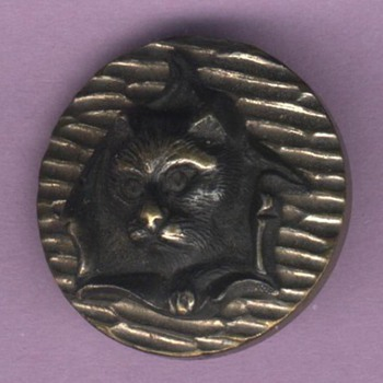 Vintage Steel Button; &quot;Circus Cat&quot;