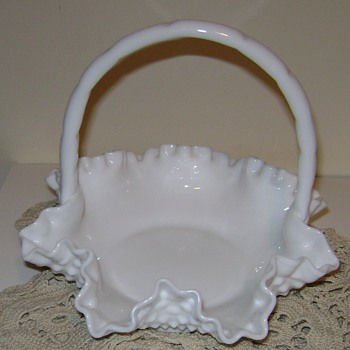 Fenton Milk Glass Basket - Glassware