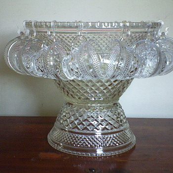 Late 60's Punchbowl w/18 Cups & Pedestal - Glassware