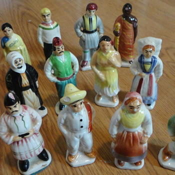 "Vintage Ceramic Figurines - Japan people from around world 4"" high 1 1/2 inch w"""