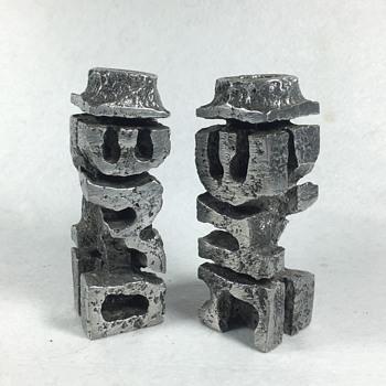 Brutalist Modern Judaica Aluminum Candlesticks