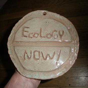Original 1970s ECOLOGY NOW! Logo Stoneware Pottery Plaque