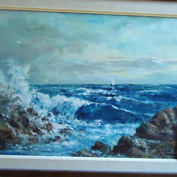 1960's Seascape Oil Painting by T Judas  ??